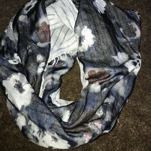 Floral and metallic infinity scarf